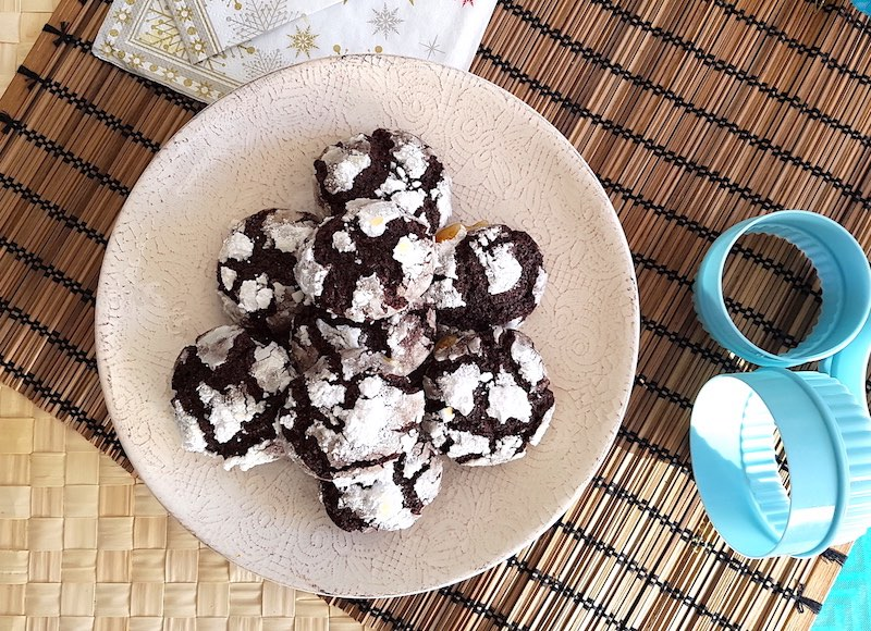 Chocolate Crinkle Cookies - Galletas Copo de Nieve