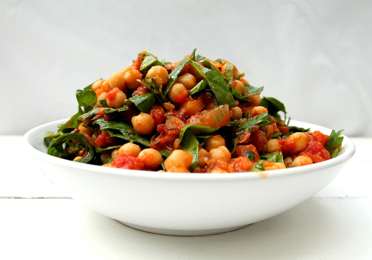 curry garbanzos y espinacas