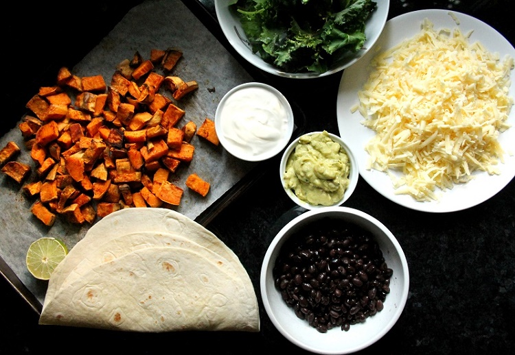 quesadillas de batata, frijoles y kale, ingredientes