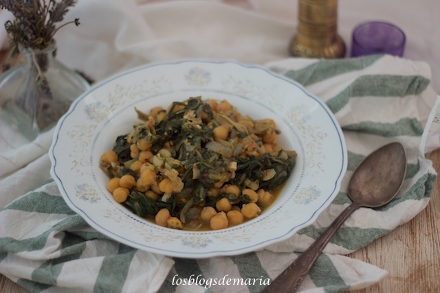 Garbanzos con acelgas en Crock Pot