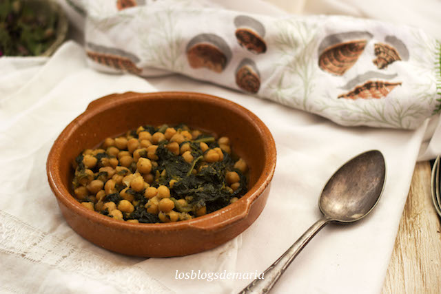 Garbanzos con espinacas en Crock Pot